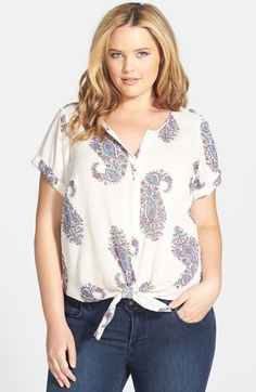 Lucky Brand Tie Front Paisley Top (Plus Size) available at #Nordstrom