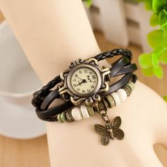 Fashion-Women-s-Bracelet-Butterfly-Analog-Watch-Quartz-Girls-Retro-Wrist-Watch