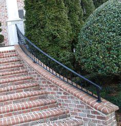 Greensboro NC custom wrought iron railings Raleigh Wrought Iron Co. Wrought Iron Porch Railings, Metal Railings, Patio Stairs, Gates, Entrance, Ideas, Entryway, Metal Balusters, Door Entry