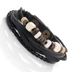 Urban-Jewelry-Leather-Vintage-Earth-Brown-and-Blond-Beaded-Bracelet-85