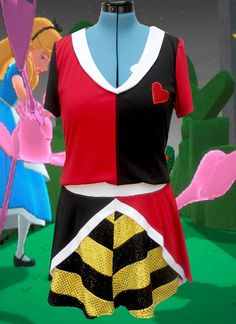 QUEEN OF HEARTS inspired complete running outfit on Etsy, $130.00