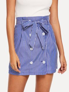 Shop Double Breasted Self Belted Striped Skirt online. SheIn offers Double Breasted Self Belted Striped Skirt & more to fit your fashionable needs. Fall Outfits, Cute Outfits, Preppy Style, Double Breasted, Short Dresses, Style Inspiration, Belt, Womens Fashion, Casual