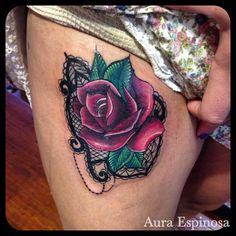 Rose tattoo with lace done by our resident Artist Aura Espinosa