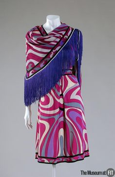 Ensemble | Emilio Pucci (Italian, 1914-1992) | Multicolor silk | Italy, circa 1963 | This ensemble consists of a dress and matching scarf | The Museum at FIT