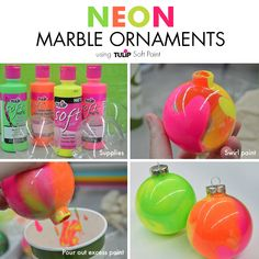 Neon Marble Ornaments DIY