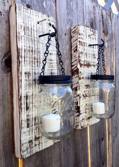 Barn wood mason jar candle holder on Etsy, $35.00 Mason Jar Candle Holders, Mason Jar Candles, Mason Jar Crafts, Barn Wood Projects, Barn Wood Crafts, Home Projects, Jar Lanterns, Citronella, Whitewash