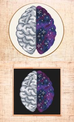 Space brain cross stitch pattern. Galaxy and anatomical cross stitch design by MariBoriEmbroidery.etsy.com
