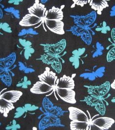 Anti Pill Fleece Print- Blue & Green Butterflies On Black