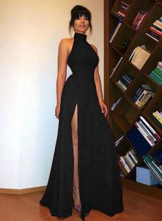 c6defc21e7 High Neck black Long Prom Dress Sexy High Split Women Evening Party Formal  Black Girl Prom