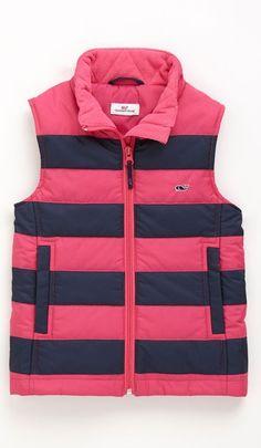 Girls Stripe Puffer Vest