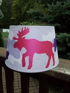 Pink Moose Lamp shade with purple camo and swarovski crystals. If my nest child is a girl! Dif color for boy. Moose Nursery, Nursery Room, Eland, Coloring For Boys, Purple Camo, Room Ideas, Decor Ideas, A Whole New World, Baby Rooms