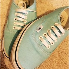 Men's size 7, women's size 9. Teal blue Vans Teal blue vans , worn 4 or 5 times. A little dirty because of sitting on a shelf for so long but can be easily cleaned up! Practically brand new! Vans Shoes Sneakers
