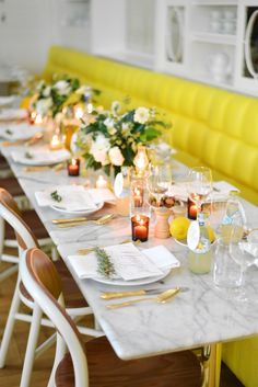 #yellow #fresh #tablescape Photography: Jessica Schmitt Photography http://www.jessicaschmitt.com, Paper Products: And Here We Are (http://and-hereweare.com, Florals by http://karmaflowers.com/index2.php, Design and Styling by http://roeymizrahi.com  Read More: http://stylemepretty.com/2013/10/03/yellow-inspiration-shoot-from-jessica-schmitt-photography-roey-mizrahi-events/