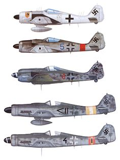 Fw 190 A-6/R11; 1./NJG10 Fw 190 A-8; 1./JG 1 Fw 190 A-8; vermutl. JG 302 Fw 190…