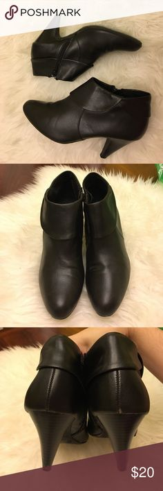Faux Leather Booties Zipper on side. Minor signs of wear. Super cute. Fioni Shoes Ankle Boots & Booties