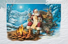 Checking It Out Twice - Santa is checking it twice and the animals gather to be sure they too, will get gifts this year! Send this humorous card to family, friends and associates. Holiday Greeting Cards-The Office Gal