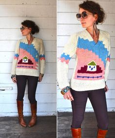 Chunky Wool Sweater Thick Hand Woven Peruvian by LaDeaDeiSogni, $144.00
