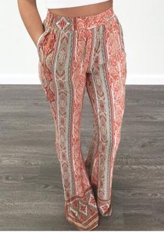 Printed Long Wide Leg Pants