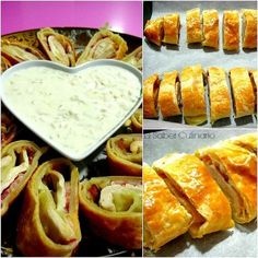Rollitos de hojaldre con pollo, bacon y queso