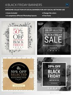 Black Friday Web Banners Template PSD #design Download: http://graphicriver.net/item/black-friday-banners/13565747?ref=ksioks