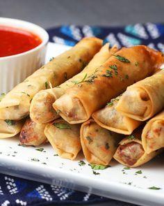 Frühlingsrollen - Lumpia Recipe by Tasty Pork Recipes, Asian Recipes, Mexican Food Recipes, Cooking Recipes, Egg Roll Recipes, Snacks Recipes, Fast Recipes, Shrimp Recipes, Good Food