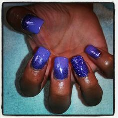 Purple shellac with glitter over acrylic
