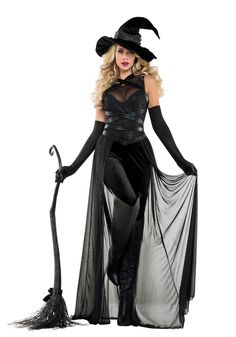 This Women's Raven Witch Costume is a unique and detailed take on the traditional witch costume idea.