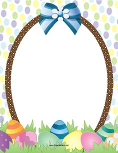Designed like an Easter basket, this printable holiday border features painted eggs and a pretty bow. Free to download and print.