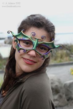 Little Fae Leather Mask In Your Choice Of Colors - Large Eyes For Glasses. $56.00, via Etsy.
