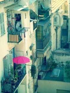 Nice, France...love the pink umbrella #France