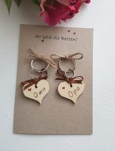 """Glückwünsche - Eine Karte mit Schlüsselanhänger für """"Opa und Oma"""" - ein Designerstück von Constance-VM-Design bei DaWanda"""
