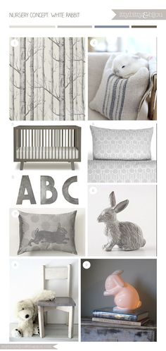 Super cute white rabbit themed nursery room decor with a pale grey colour palette - by Itty Bitty & Bijou