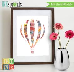Watercolor Hot Air Balloon Print, Watercolor silhouettes, balloon, The places you'll go, Nursery Print, Transportation, Item  WC011C on Etsy, $11.00 AUD