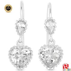 Mothers Day Gift Valentines Day Gift CZ Pave Love Heart Post Drop earrings