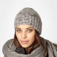 Designer grey glitter beanie hat