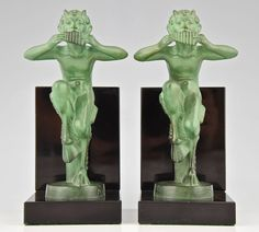French Art Deco Satyr Bookends by Mic, Max Le Verrier Foundry 1930 at 1stdibs