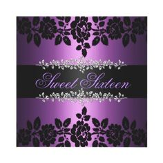 Purple & Black Rose Sweet 16 Birthday Invitation by GoDesign - this one is perfect!