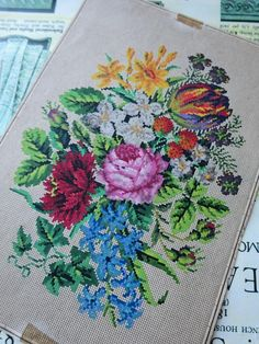 Antique Hand Painted Berlin Woolwork Chart- Floral Spring Bouquet | eBay