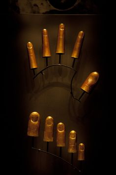 Finger and Toe Protectors, with engraved details, were found on the Tutankhamun mummy when it was unwrapped in 1922.