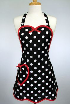 Cute Retro Apron, handmade pin up Womens Full Sweetheart Black and White Polka Dot with Red Trim Retro Apron, Aprons Vintage, Cute Aprons, Sewing Aprons, Creation Couture, Madame, Creations, Plus Size, Clothes For Women