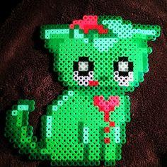 Zombie cat - Halloween perler beads by zorratales Hama Beads Patterns, Beading Patterns, Kandi Patterns, Pearler Beads, Fuse Beads, Nightmare Before Christmas, Pixel Beads, Halloween Beads, Melting Beads