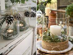 Um simples arranjo com velas pode transformar a decoração da mesa de Natal. As opções de enfeites nos arranjos são inúmeras - do rústico ao clássico, passa