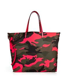Give you urban armor a bold remix with Valentino's neon-detailed camo print tote #Stylebop