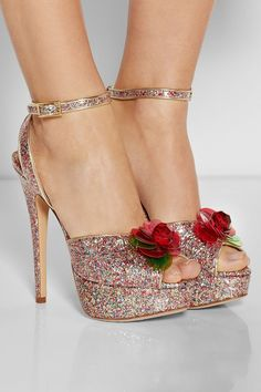 6f756f08e54e3 Charlotte Olympia glittery heels with red roses