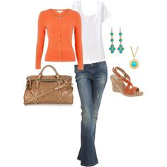 white T + coral sweater + camel purse + teal jewelry