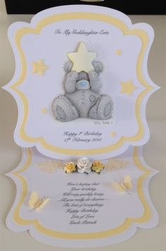 shadowlace | docrafts.com Baby Birthday Card, Birthday Cards For Women, Card Making Inspiration, Making Ideas, Stepper Cards, Bear Card, Baby Girl Cards, Shaped Cards, Easel Cards