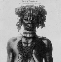Africa | Old Pahouine woman. Fang people.  French Congo (Brazzaville) | Cropped postcard image.  Photographer J Audema, ca. 1905