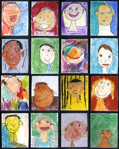 self portraits - first back ground. pastel chalk main shapes. sharpie pen lines - all grades.