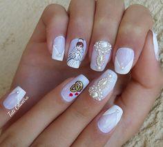 Wedding Nails, Nail Designs, Nail Art, Beauty, Art Nails, Craft, Brides, Dress, Love Nails