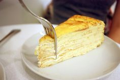Mille Crêpes Cake - 20 layers of handmade crepes! at Lady M, New York Crepe Cake, Crepe Recipes, Mille Crepe, Vintage Recipes, Just Desserts, Vanilla Cake, Sweet Recipes, Cheesecake, Good Food